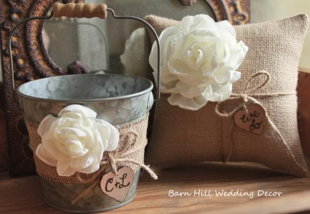 32edd67f6fe Flower Girl Basket Bucket Ring Bearer Pillow Set Wedding Rustic Wedding  Burlap Shabby Chic Basket And Pillow Set  2481314 - Weddbook