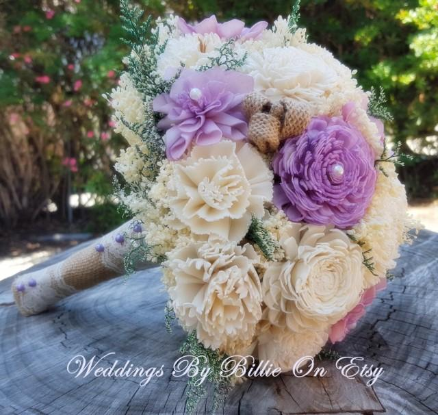 Burlap Lace Purple Bouquet