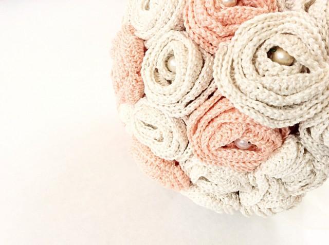 Beige And Salmon Pink Wedding Bouquet Bridal Bouquet Hand Crochet