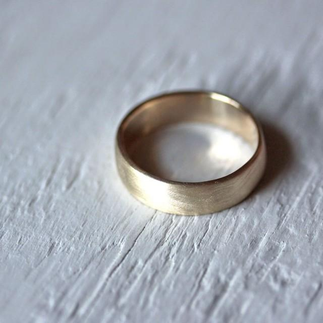 Mens Wedding Band 7mm Wide Low Dome 10k Recycled Hand Carved