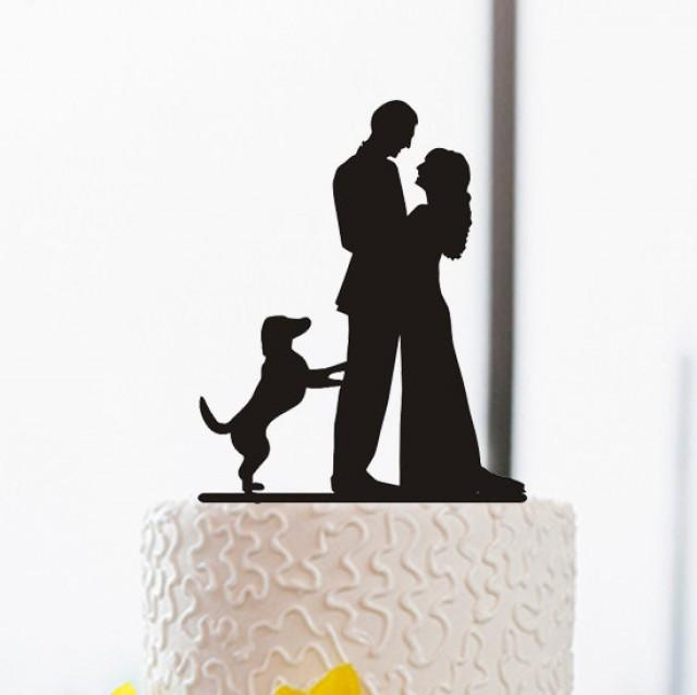 Wedding Cake Topper-Silhouette Cake Topper With Dog-Funny ...