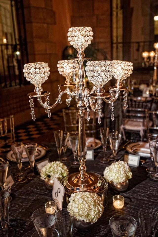 5 Arm Crystal Candelabra Centerpiece Wedding Hanging Crystals Votive