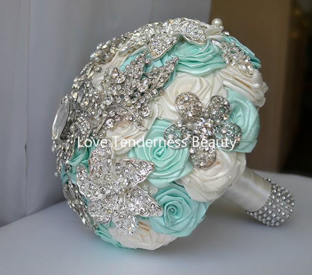 Sale 7 Quot Beach Wedding Brooch Bouquet Mint Blue Silver
