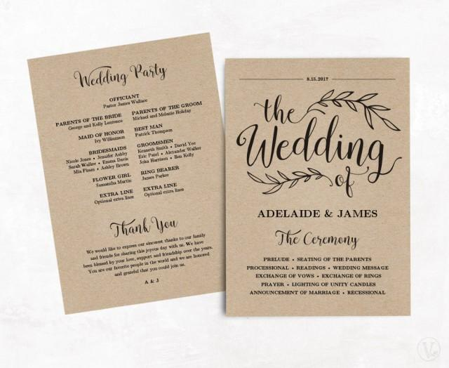 printable wedding program  wedding program template  kraft