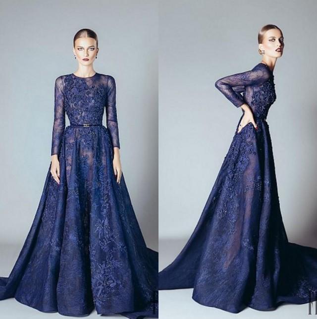 Formal Dresses 2016: Elie Saab 2016 Blue Beaded Appliques Long Sleeve Evening
