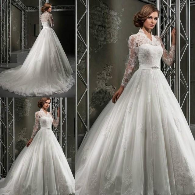 Custom Made Winter Lace Wedding Dresses Plus Size Ball