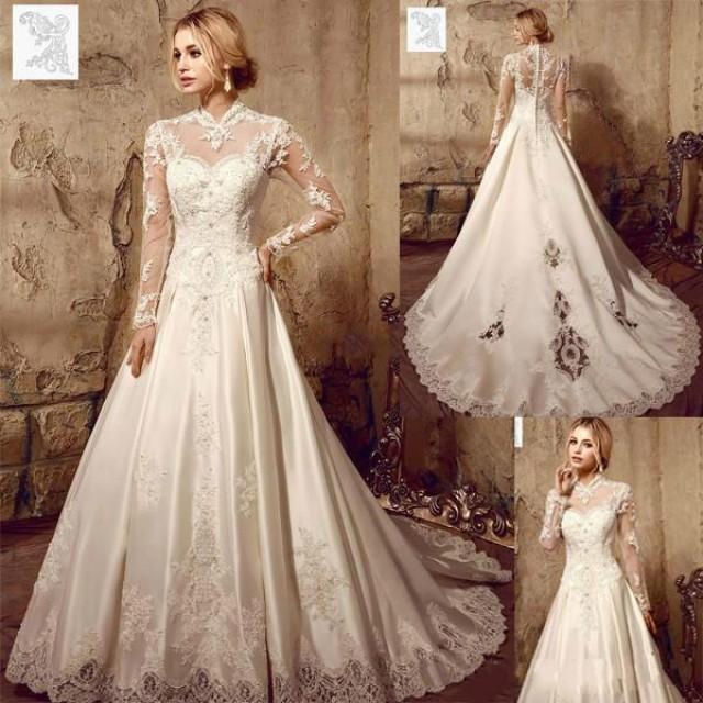 Vintage Wedding Gown Designers: Designer Illusion Long Sleeve Wedding Dresses 2016