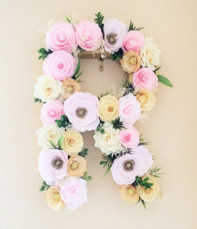 Floral Letter Large Paper Mache Letter Blush And Gold