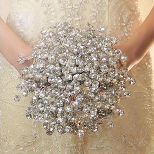 Hot Sale Handmade Colorful Acrylic Crystal Wedding Bouquets Holders ...