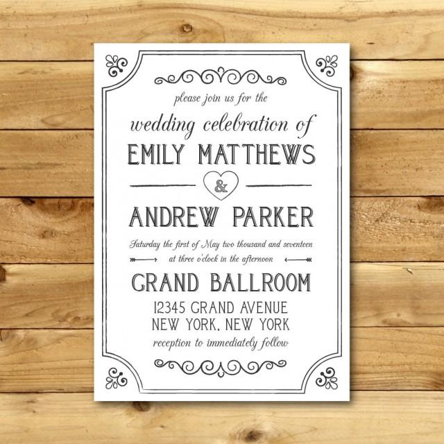 Printable Vintage Style Wedding Invitation Template - Dark Grey & White - Instant Download