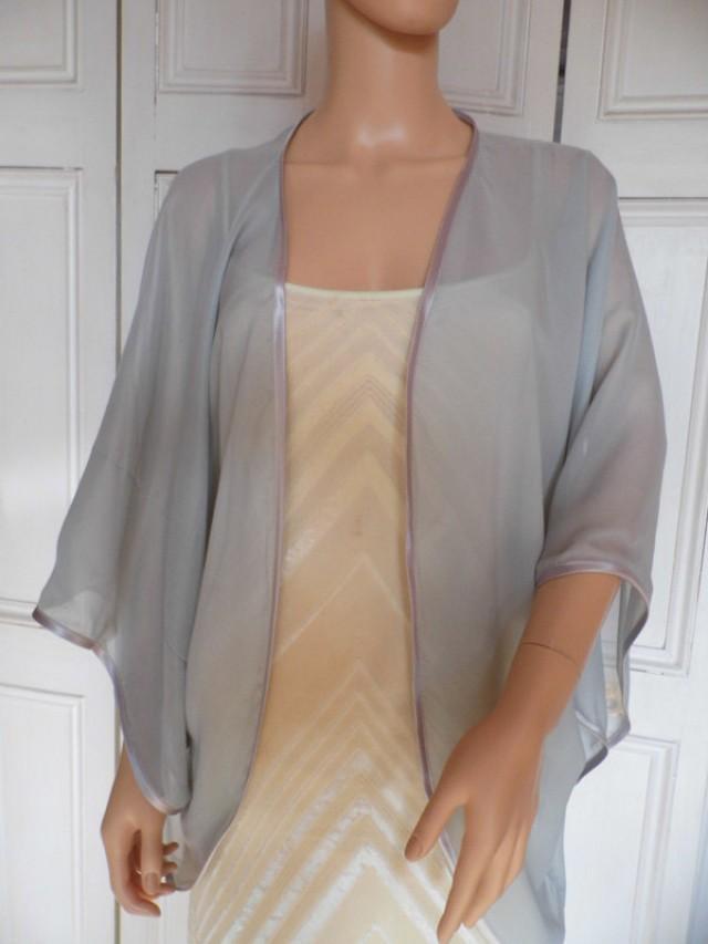 Silver Chiffon Kimonojacketwrapcover Upbolero With Satin Edging