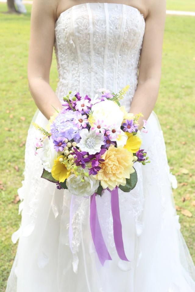 Purple Rose Yellow Bridal Bouquet And Groom Boutonniere Royal Tiffany Light Hy Bride S 2484926 Weddbook