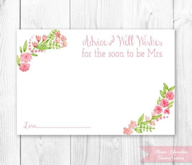 Vintage Floral Bridal Advice Card. Floral Bridal Shower