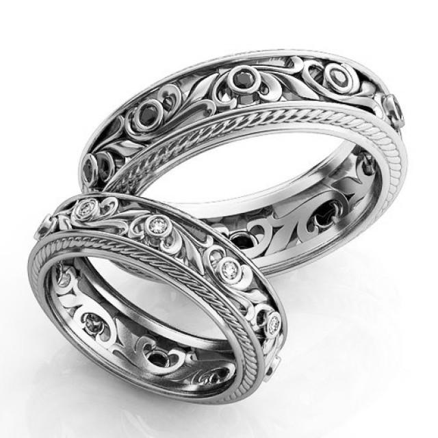 Vintage Style Engagement Rings, Silver Wedding Ring Set, Filigree ...