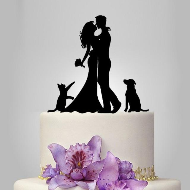Bride And Groom Silhouette Wedding Cake Topper With Dog