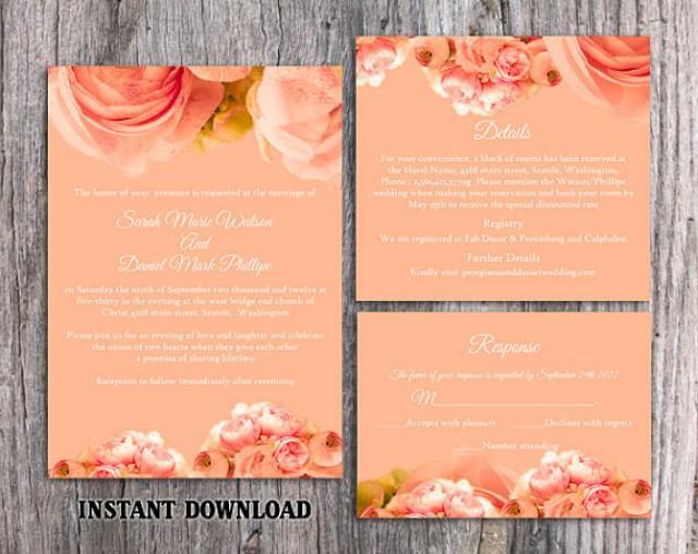 Diy Wedding Invitation Template Set Editable Word File Download Printable Peach Invitation Boho Wedding Invitation Peonies Invitation 2485604 Weddbook