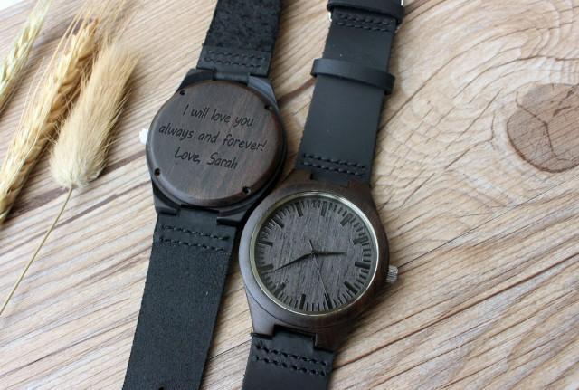 Wedding Gift For Guys: Mens Wooden Watch, Ebony Wood Watch, Watch, Wood Watch