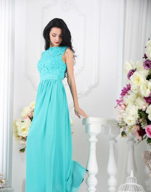 Bridesmaid Turquoise Dress Long Turquoise Lace Dress