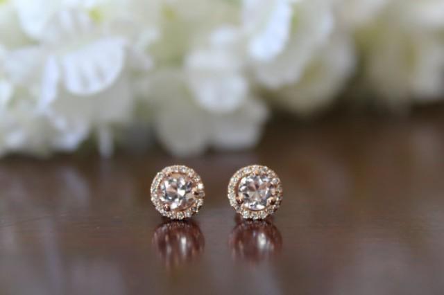 Morganite Stud Earrings 2 Carat And Diamond Halo 14k Rose Gold For Women Or 18k Raven Fine Jewelers