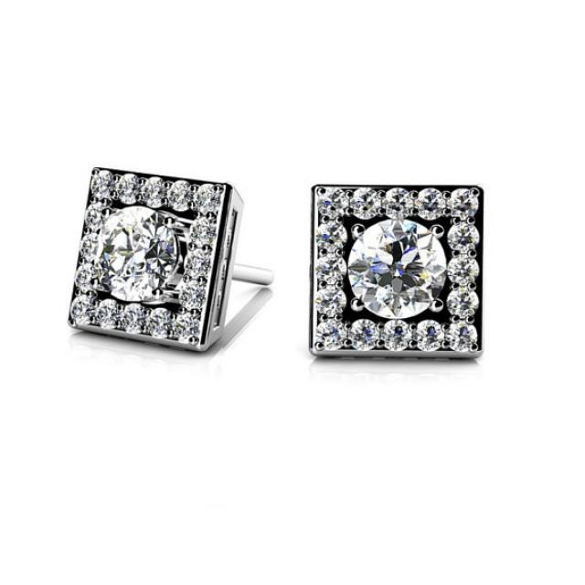 Diamond Earrings By Michael Raven Raven Fine Jewelers 1 Carat Diamond Square Stud Earrings 14k White Gold 18k Or Platinum Diamond Studs Square Halo Earrings Anniversary Gift 2486254 Weddbook