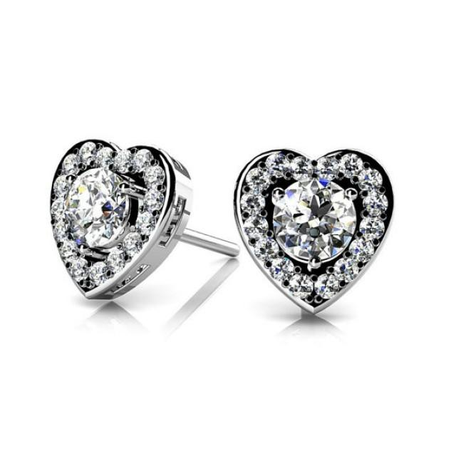 Diamond Heart Stud Earrings By Michael Raven Raven Fine Jewelers 1 Carat Diamond Heart Stud Earrings 14k White Gold 18k Or Platinum Diamond Studs Heart Halo Earrings Christmas Or Anniversary Gifts 2486258 Weddbook