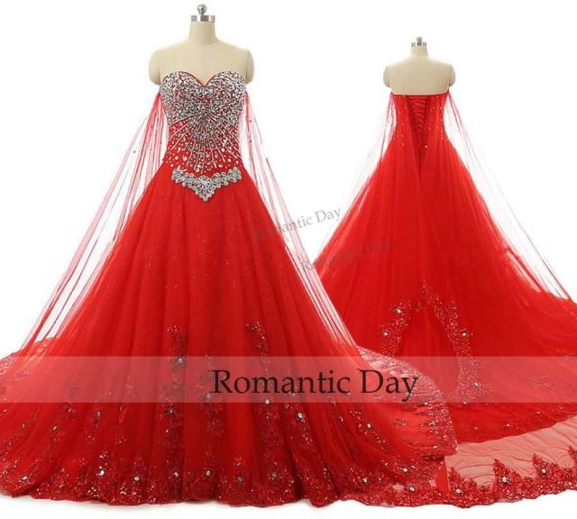 princess red ball gown wedding dress bling sweetheart