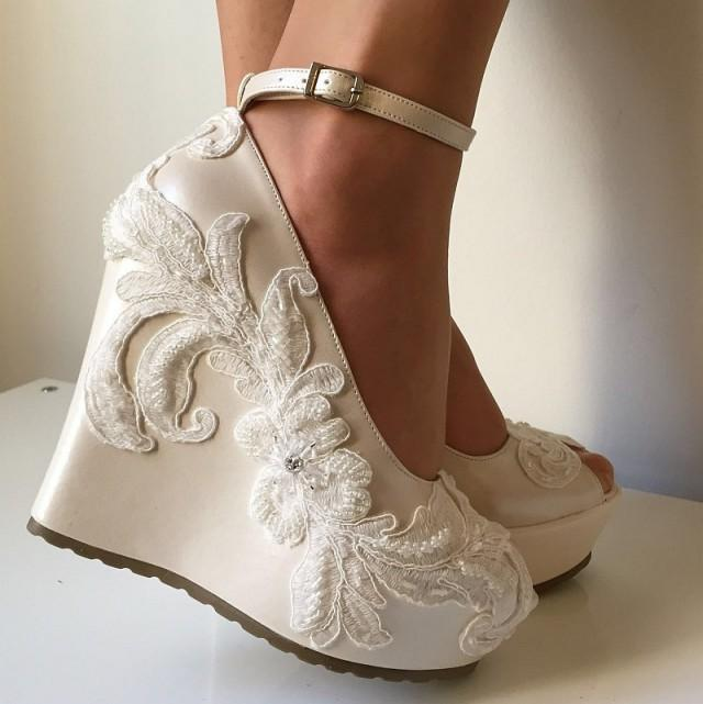 Wedding ,Wedding Wedge Shoes, Bridal Wedge Shoes,Bridal ...