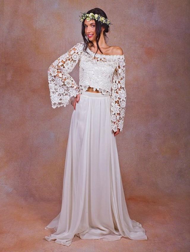 Alana 2-Piece Lace Silk Chiffon Bohemian Wedding Dress. BELL SLEEVE ...