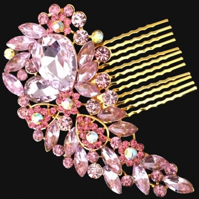 Leaves Crystal Diamante Hair Comb Slide Clip for Bridal Wedding Party Prom