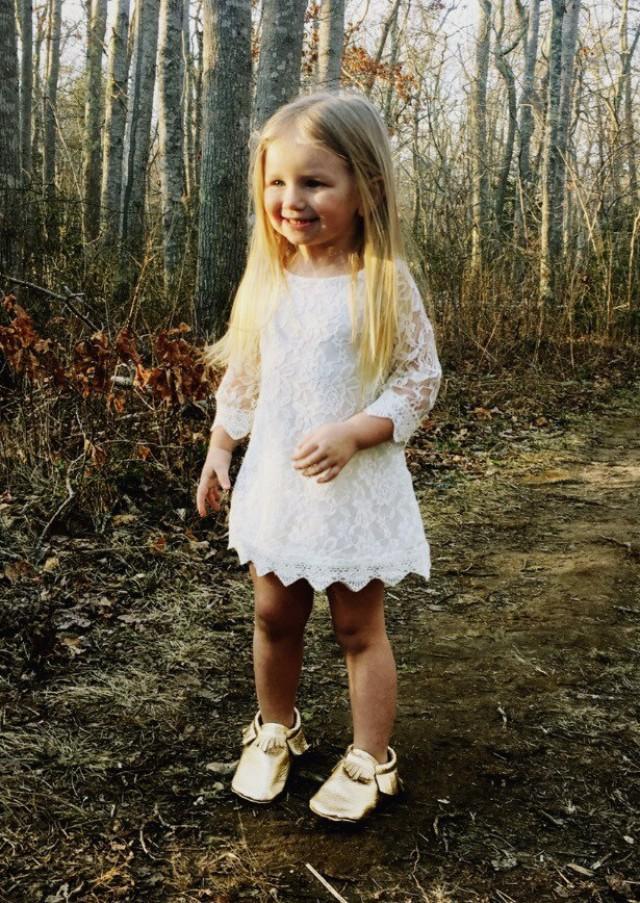 girls white dress white lace flower girl dress country