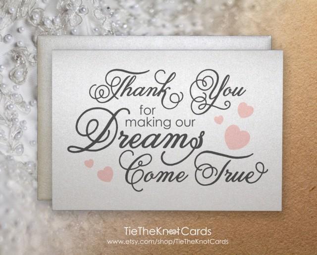 Thank You For Making Our Dreams Come True Card Caterer Florist DJ Wedding Planner Singer Parents 2487343