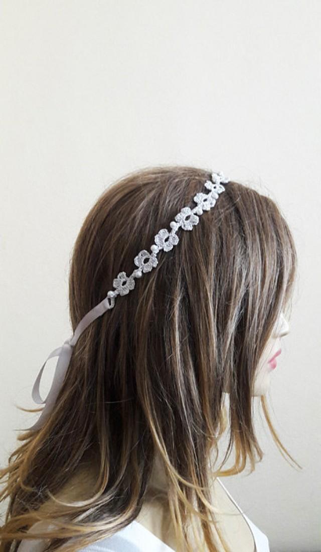 Crochet Headband Wedding Accessory Handmade Headbands Pearl Hair Accessories Hairband For Women ...