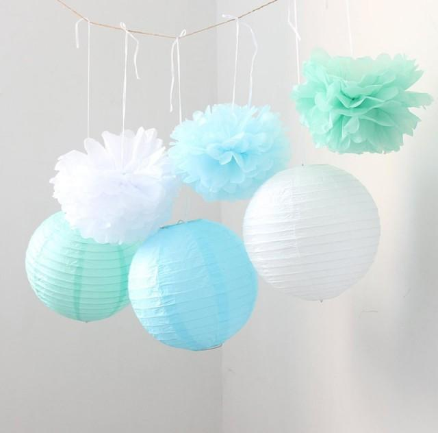 Set Of 9 Mixed Mint Green Blue White Tissue Paper Pom Poms
