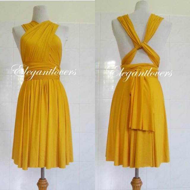 Gold Yellow Chiffon Bridesmaid Dress with Ruffles Cap ... |Yellow Gold Party Dress