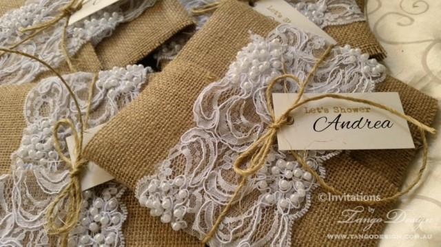 burlap and lace wedding invitations x50 rustic glam country theme