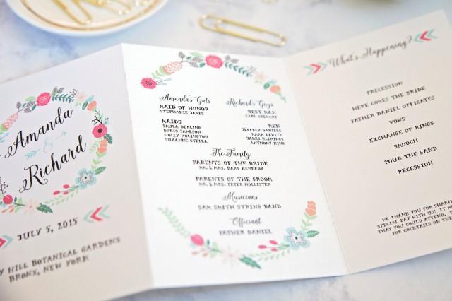 Floral Wedding Program Wedding Order Of Service Booklet