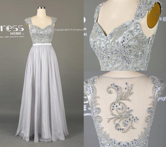 2016 Silver Grey Long Lace Prom Dress A Line Chiffon Prom