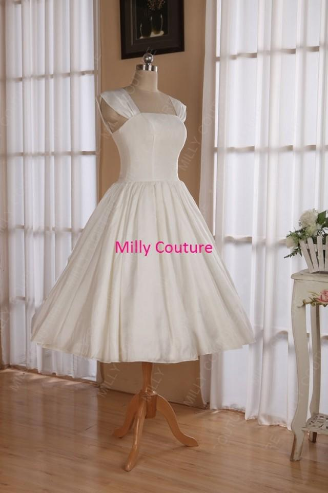 Cap Sleeves 1950s Pin Up Wedding Dress Tea Length Retro Style Vintage Short 2488613 Weddbook
