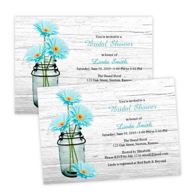 country bridal shower invitation aqua daisies in a mason. Black Bedroom Furniture Sets. Home Design Ideas
