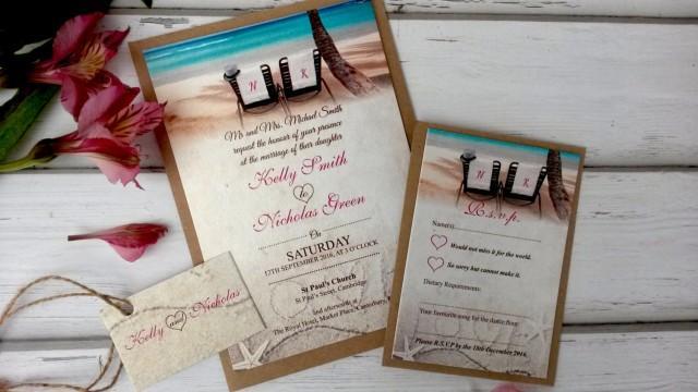 Beach Theme Wedding Invitation: Beach Themed Wedding Invitations Personalised With Twine