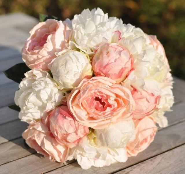 Silk Wedding Bouquet Keepsake Bridal Blush Pink Coral And Ivory Peony Flower 2489542