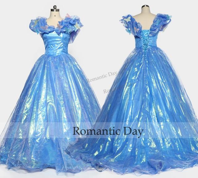 Cinderella prom dress butterfly ball gown blue 2016 real for Butterfly back wedding dress
