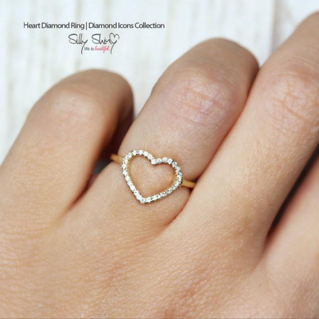 Heart Diamond Ring 14K Gold Ring 0 2 CT Pave Diamond Ring