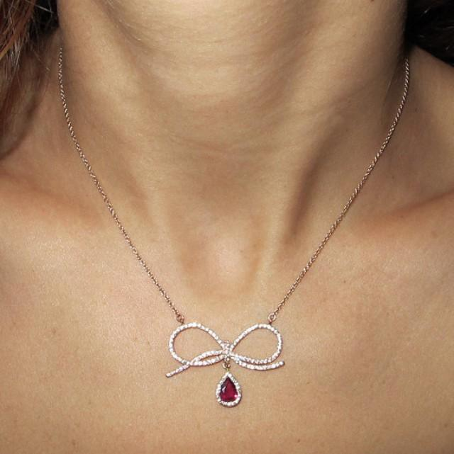 Natural Red Ruby Pendant Necklace Bow Necklace White