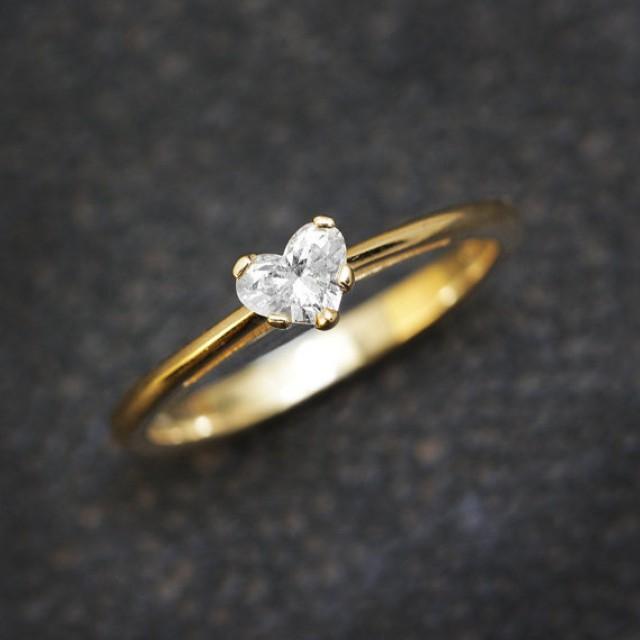 Heart Diamond Ring Solitaire Ring 14K Gold Ring 0 3 CT Diamond