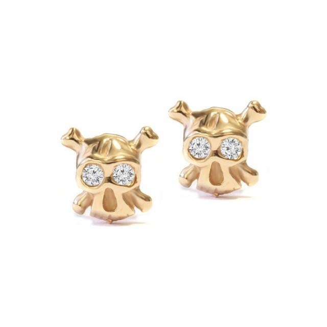 Stud earrings gold diamonds the ride or die tiny for Ride or die jewelry