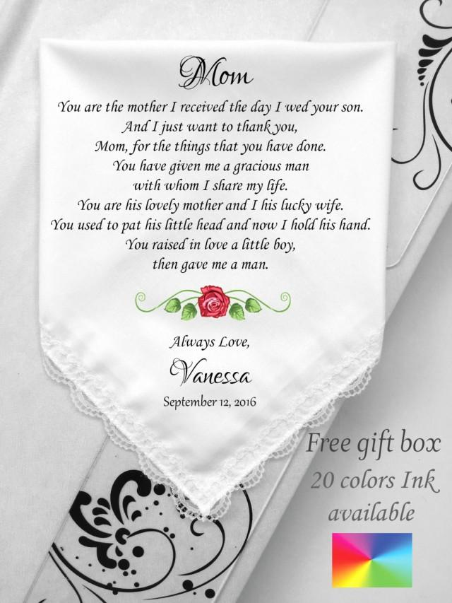 Mother In Law Wedding Gift-Wedding Handkerchief -To Mother Groom ...