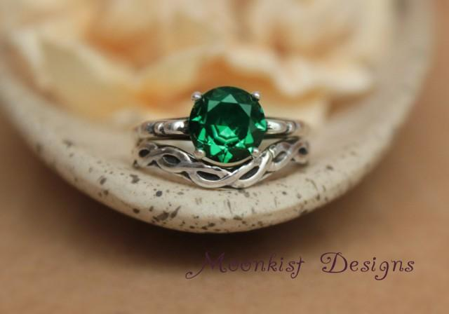 Diamond /& Emerald Ring Set In Sterling Silver Birthstone