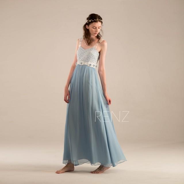 2016 Steel Blue Bridesmaid Dress Blue Wedding Dress