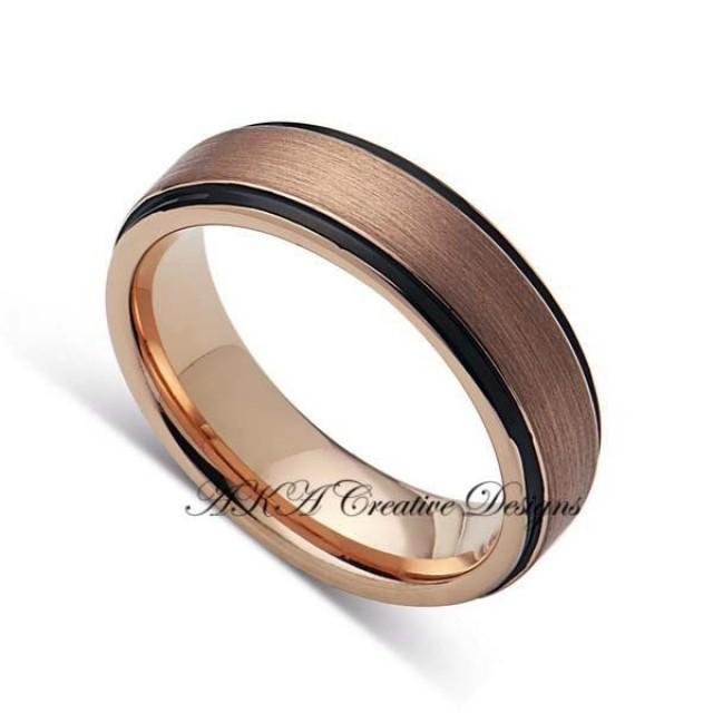 Mens Tungstenband 6mm Two Tone Black With Rose Gold Mens